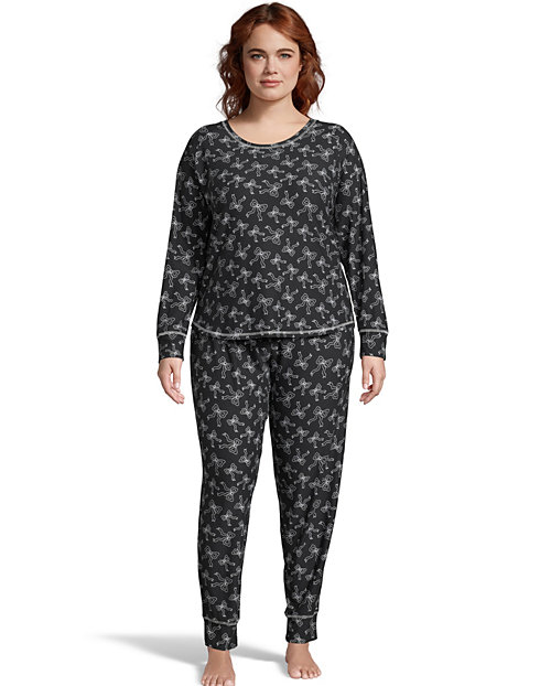 Jersey Long Sleeve Plus PJ Set--Black