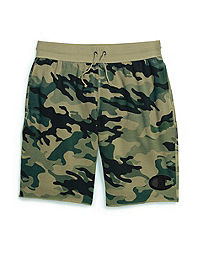 Champion Men's Vintage Dye Fleece Camo Shorts, Felt C Logo