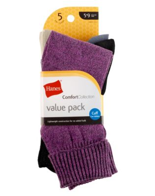 Hanes Women's Comfort Collection Cuff Socks 5-Pack