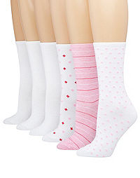 Hanes ComfortBlend® Women's Crew Socks Assorted 6-Pack