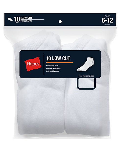 Hanes Classics Men's Low Cut Socks 10-Pack