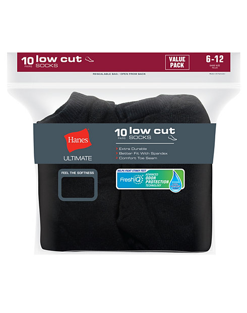 Hanes Ultimate® Men's Cushion Low Cut Socks 10-Pack
