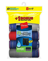 Hanes Boys' Cool Comfort™ Boxer Briefs with Comfort Flex® Waistband 8-Pack (7 + 1 Free Bonus Pack)
