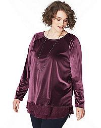JMS Long Sleeve Lace Trim Velvet  Top