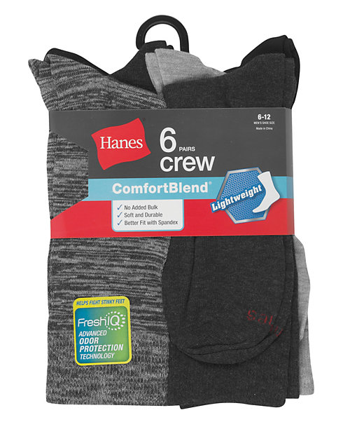 c85ba101199 Hanes Men s FreshIQ™ ComfortBlend® Lightweight Casual Dress Socks 6-Pack