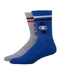 Champion Men's Performance Crew Socks, Vertical C Logo, 2-Pack