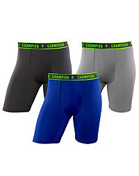 Champion Men's Active Performance Long Leg Boxer Brief 3-Pack