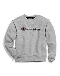 Champion Big & Tall Men's Powerblend®  Fleece Crew, Felt & Chainstitch Logo