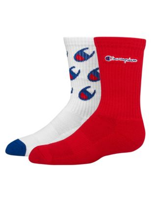 Champion Kids' Crew Logo Socks, 2-Pack
