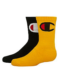 Champion Kids' Crew Socks, Big C Logo 2-Pack