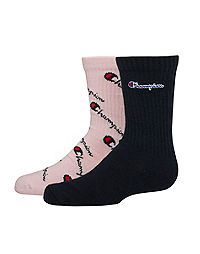 Champion Kids' Crew Script Logo Socks, 2-Pack