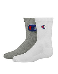Champion Kids' Crew C Logo Socks, 2-Pack
