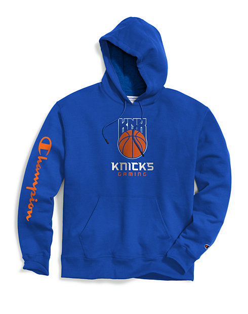 newest 5dc47 431d1 Exclusive Champion Men's NBA 2K New York Knicks Gaming Pullover Hoodie