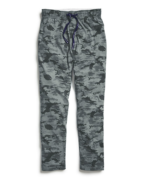 Champion Men's Sleep Pants, Camo Grey/Black