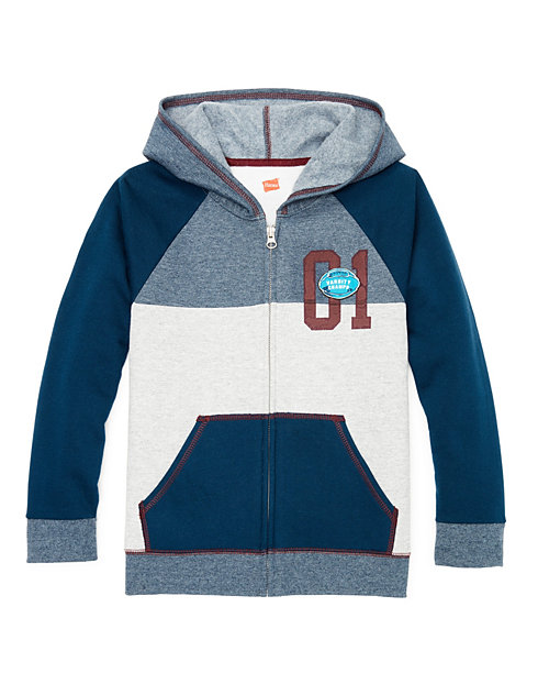 Hanes Boys' Graphic Fleece Colorblock Full Zip Hoodie