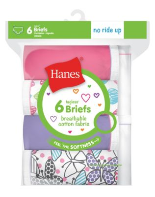 Hanes Girls' Breathable Cotton Briefs 6-Pack