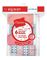 Hanes Girls' Breathable Cotton Low Briefs 6-Pack