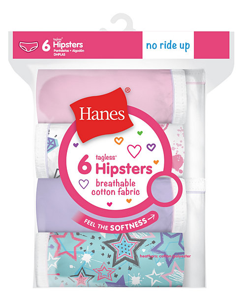 Hanes Girls' Breathable Cotton Hipsters 6-Pack