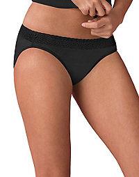 Hanes Women's ComfortSoft® Cotton Stretch Lace Bikini with Lace Waistband 3-Pack