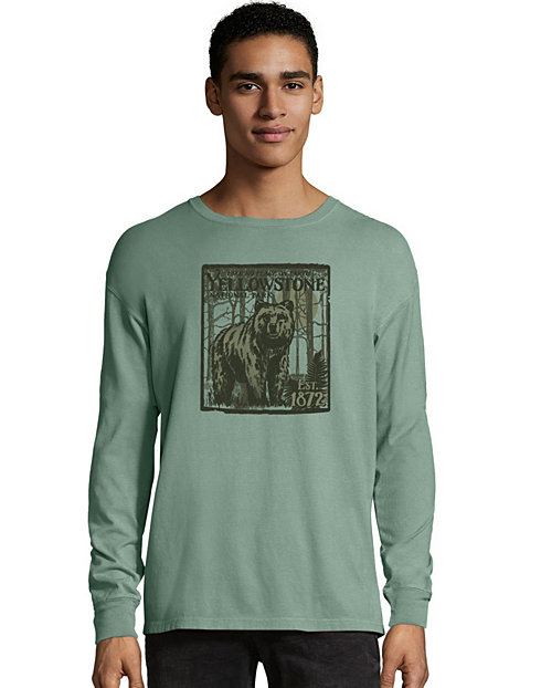 Hanes ComfortWash™ Yellowstone National Park Graphic Long Sleeve Tee