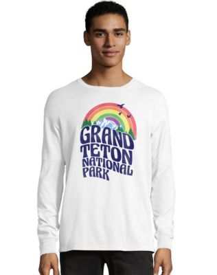 Hanes Men's ComfortWash™ Grand Teton Retro Rainbow National Park Long Sleeve Tee