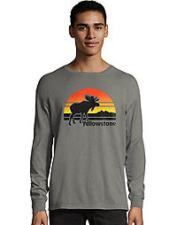 Hanes Men's ComfortWash™ Yellowstone Retro Moose National Park Long Sleeve Tee