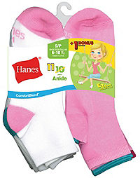 Hanes ComfortBlend® EZ-Sort® Girls' Ankle Socks 11-Pack (Includes 1 Free Bonus Pair)