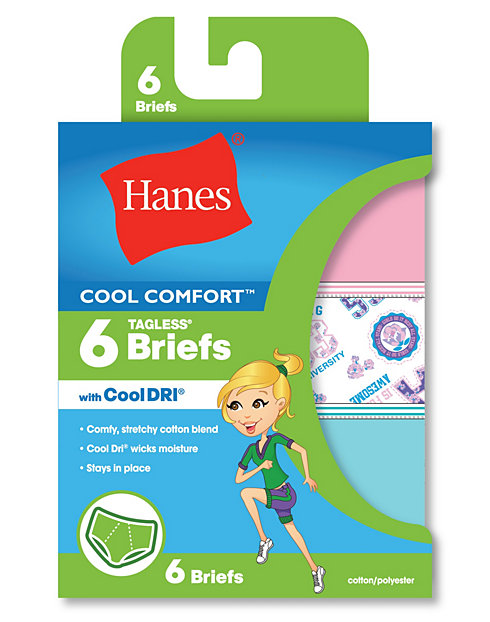 Hanes Girls' Cool Comfort™ Briefs with Cool Dri® 6-Pack