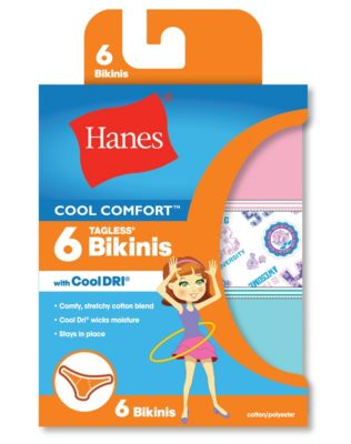 Hanes Girls' Cool Comfort™ Bikinis with Cool Dri® 6-Pack