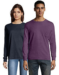 Hanes Adult ComfortWash™ Garment Dyed Long Sleeve Pocket Tee