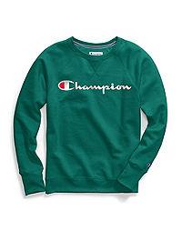 Champion Women's Powerblend® Fleece Boyfriend Crew, Script Logo