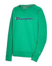 Champion Women's Powerblend Boyfriend Crew, Script Logo