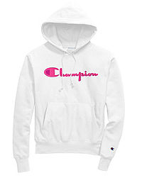 Exclusive Champion Life® Men's Reverse Weave® Pullover Hoodie, Neon Pink Chenille Logo