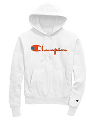 Exclusive Champion Life® Men's Reverse Weave® Pullover Hoodie, Neon Orange Chenille Logo