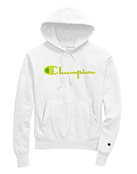 Exclusive Champion Life® Men's Reverse Weave® Pullover Hoodie, Neon Green Chenille Logo