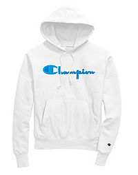 Exclusive Champion Life® Men's Reverse Weave® Pullover Hoodie, Neon Blue Chenille Logo