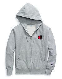 56735d1a3 Champion Life® Men's Reverse Weave® Full Zip Hood, Chenille Big C Logo.  OxfordGrey Color ...