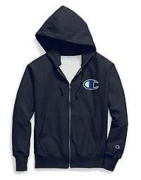 Champion Life® Men's Reverse Weave® Zip Hoodie, Mesh & Leather C Logo