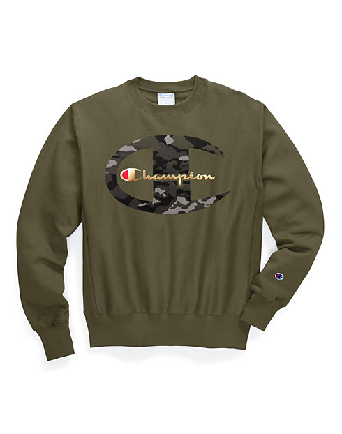 Exclusive Champion Life® Men's Reverse Weave® Crew, Camo + Metallic Logo