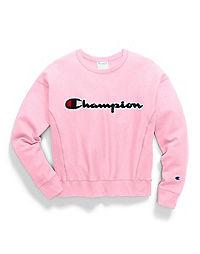 Champion Life® Women's Reverse Weave® Crew, Chenille Script Logo