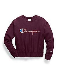 Champion Life® Women's Reverse Weave® Crew, Satin Stitch Logo