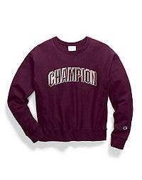 Champion Life® Women's Reverse Weave® Crew, Floss Stitch Arch Logo