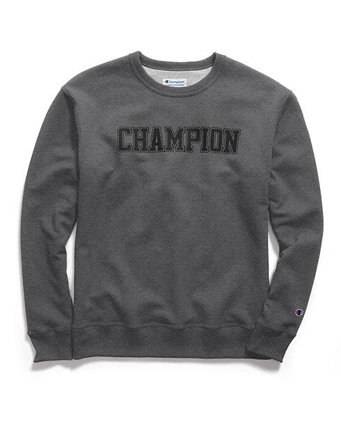 b23353e34d75 Champion Men's Powerblend® Fleece Crew, Mesh-Effect Logo | Champion