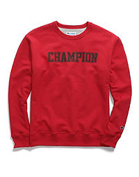 Champion Men's Powerblend® Fleece Crew, Mesh-Effect Logo