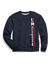Champion Men's Powerblend® Fleece Crew, Vertical Logo