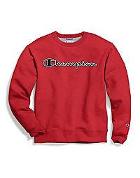 Champion Men's Powerblend® Fleece Crew, Logo With White Chainstitch