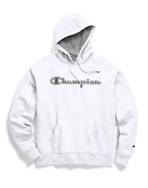 b90baa86c602 Champion Men's Powerblend® Fleece Pullover Hoodie, Chainstitch Outline Logo    Champion
