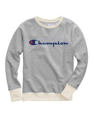 Champion Women's Plus Powerblend® Fleece Boyfriend Crew, Script Logo