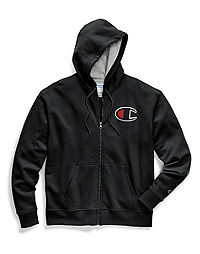 Champion Men's Powerblend® Fleece Zip Hoodie, Felt C Logo With Chainstitch
