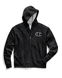 Champion Men's Powerblend® Fleece Zip Hoodie, Chainstitch Outline C Logo